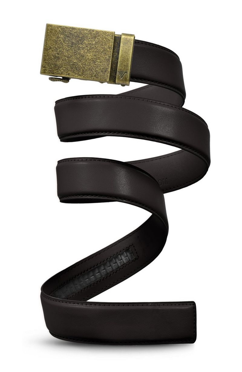 Mission Belt - Dark Brown Leather with Bronze Buckle