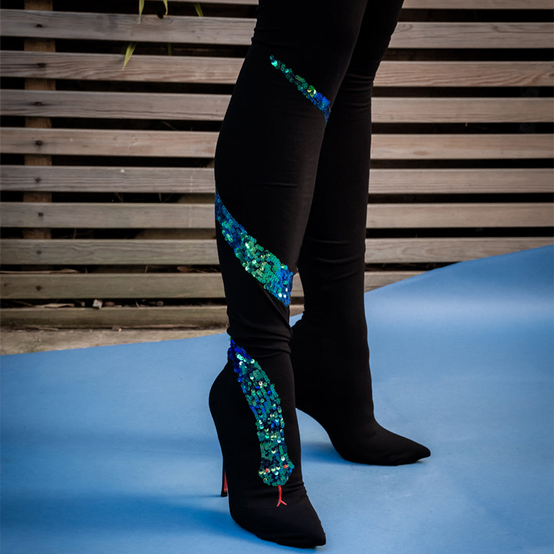 snake, pants, trousers, sequins, embroidered, boots, boot, over the knee boots, black, green