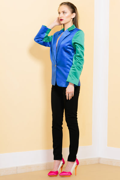 blazer - women - blue - green - lined - tailored - cotton - satin - Kites - and - Bites - detail