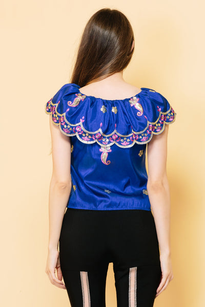 top - women - electric blue top - pink - silver - sequins - party tops - Kites - and - Bites - back