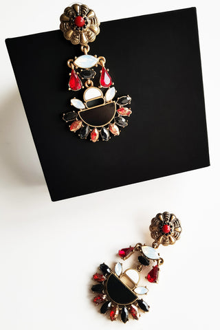 earrings - accessories - women - metal - gold finish - drop-down earrings - red - black - clear - stones - party-wear - Kites - and - Bites - product