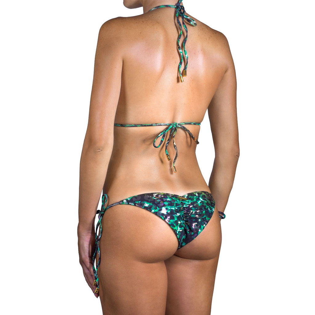Swimwear - Animal Green Ruched Back Tie Sides Bikini Bottom -  Thalassa Boom - 8