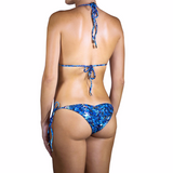 Thalassa Boom Resort Wear, Animal Blue Triangle Bikini Top, Designer swimwear