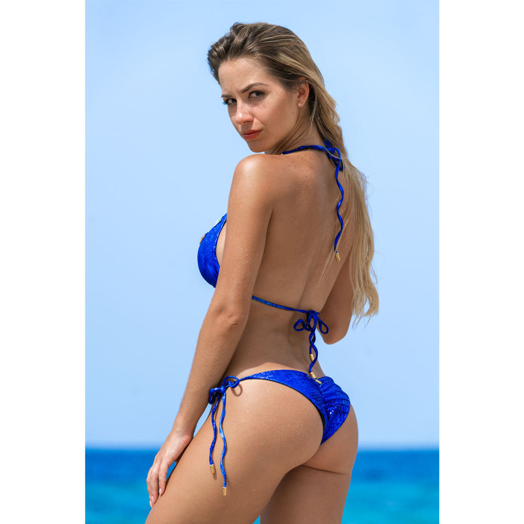 Swimwear - Alligator Blue Ruched Back Tie Sides Bikini Bottom with Swarovski Crystals -  Thalassa Boom - 1