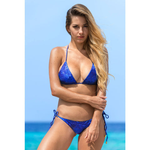 Alligator Blue Triangle Bikini Top