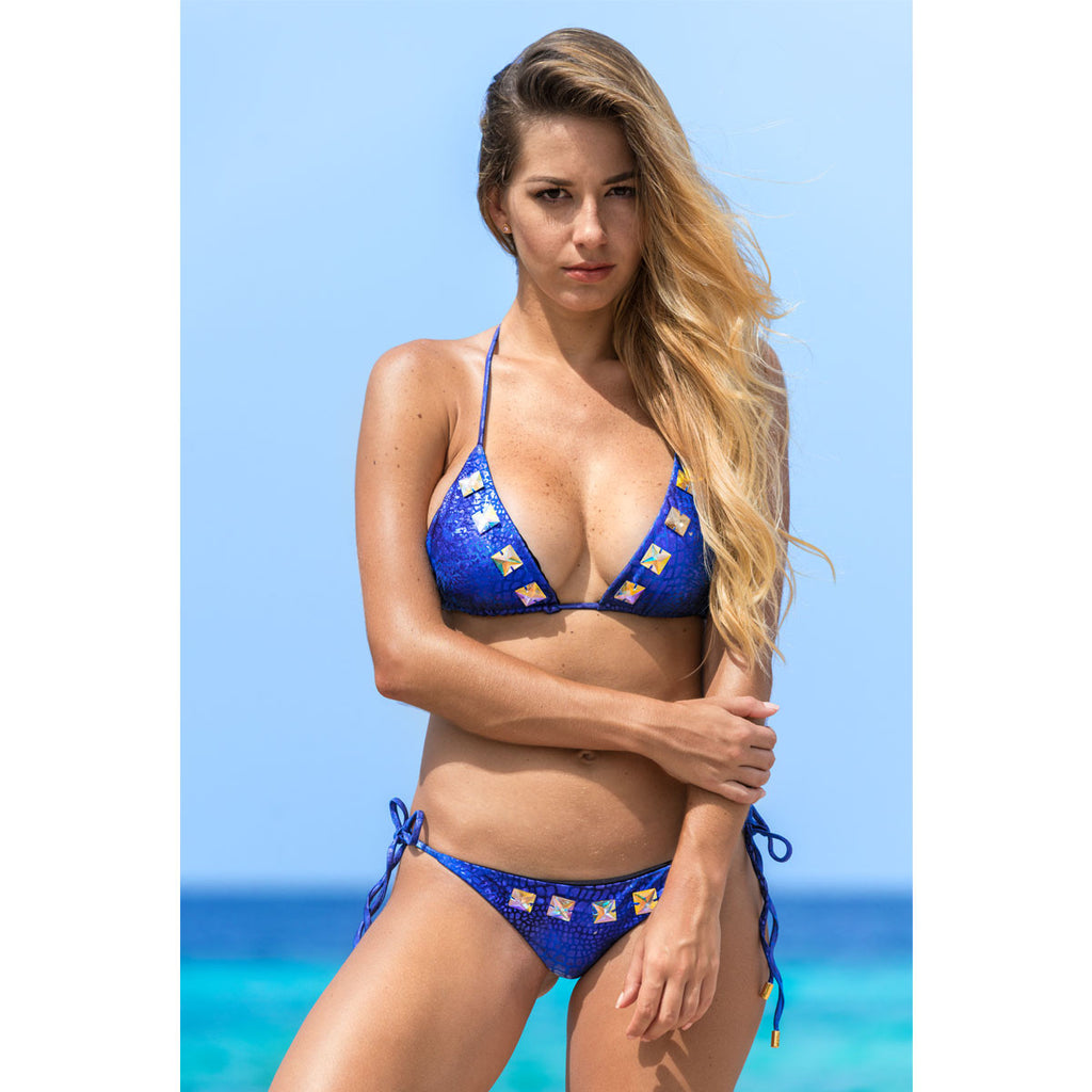 Thalassa Boom Resort Wear, Alligator Blue Triangle Bikini Top with Swarovski Crystals,  Designer Swimwear