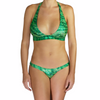Thalassa Boom Resort Wear, Alligator Green Halter Bikini Top, Designer swimwear