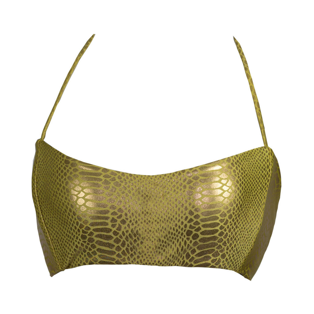 Thalassa Boom Resort Wear, Snake Gold Bralette Bikini Top, Designer swimwear