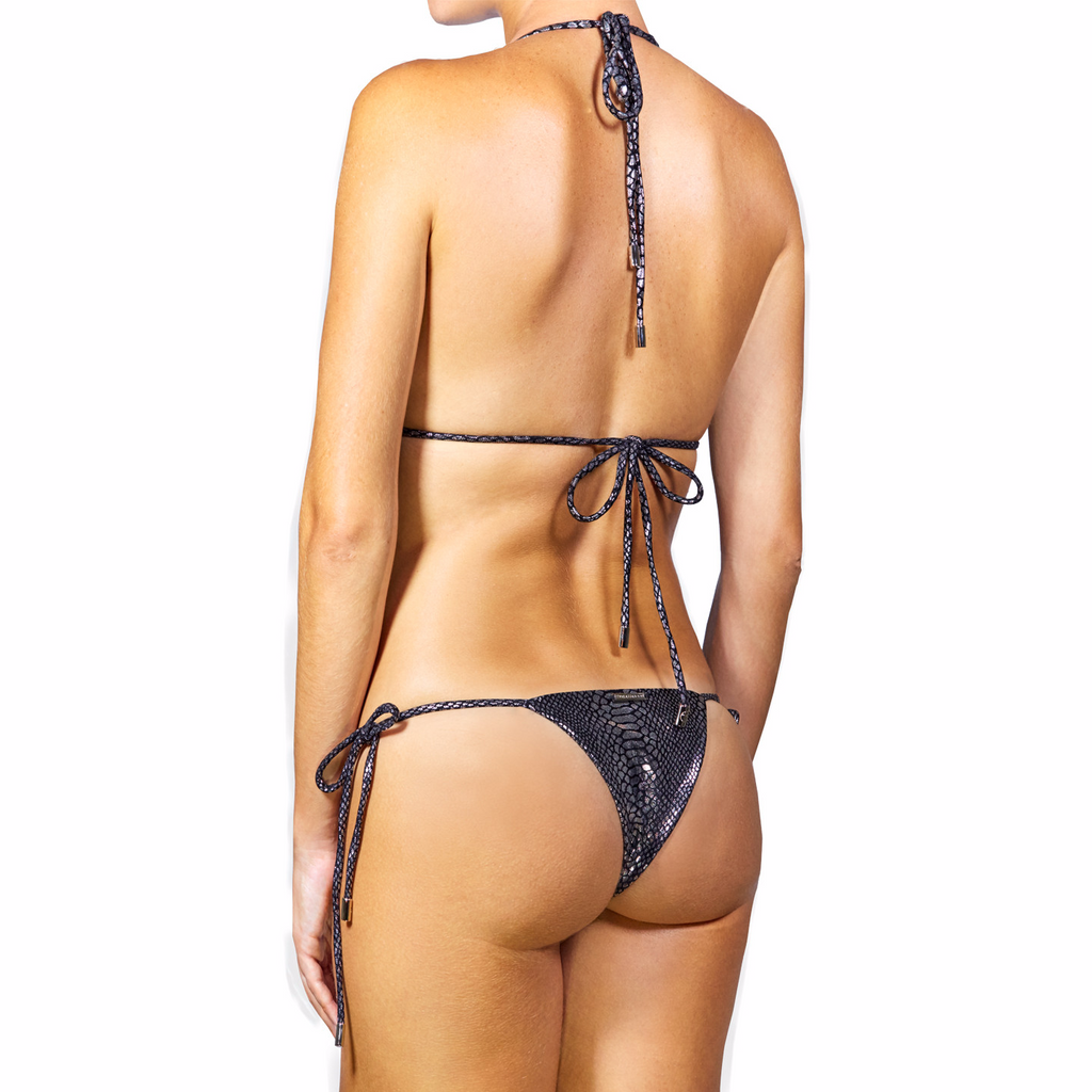 Thalassa Boom Resort Wear, Snake Silver Triangle Bikini Top with Swarovski Crystals, Designer swimwear
