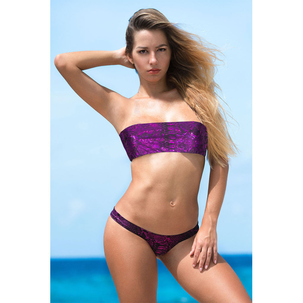 Thalassa Boom Resort Wear, Snake Hot Pink Cheeky Bikini Bottom, Designer swimwear