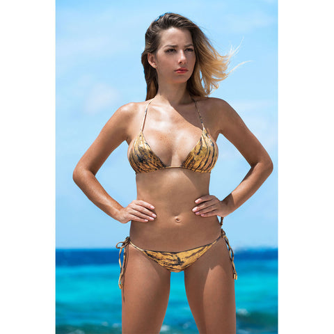 Tiger Gold Triangle Bikini Top