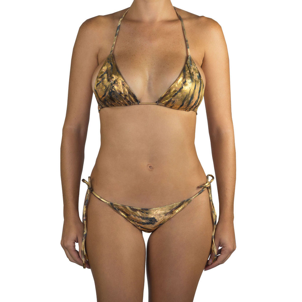 Thalassa Boom Resort Wear, Tiger Gold Ruched Back Tie Sides Bikini Bottom, Designer swimwear