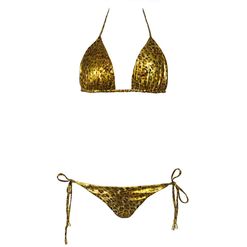 Thalassa Boom Resort Wear, Cheetah Gold Triangle Bikini Top, Design swimwear