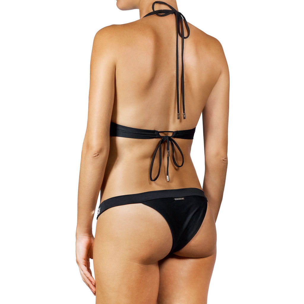 Thalassa Boom Resort Wear, Black Halter Bikini Top with Swarovski Crystals, Designer Swimwear
