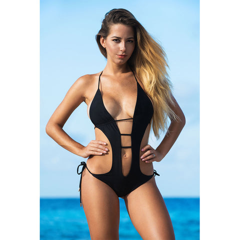 Black One Piece Monokini Swimsuit
