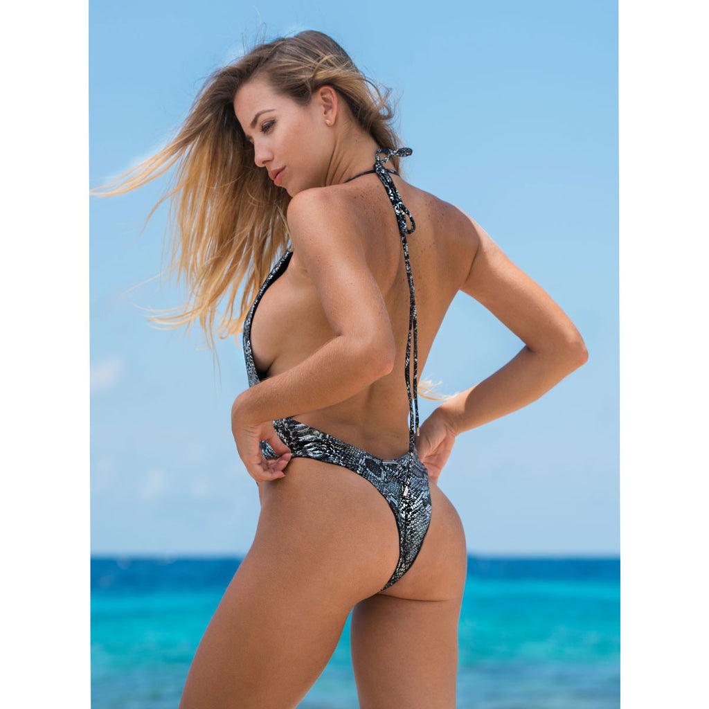 Thalassa Boom Resort Wear , Snake Silver One Piece Swimsuit, swimwear