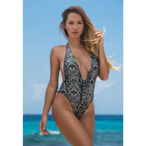 Black One Piece Monokini Swimsuit with Swarovski Crystals