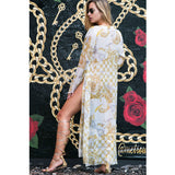 Long Kimono with Gold Chains on White in Organza -  Thalassa Boom