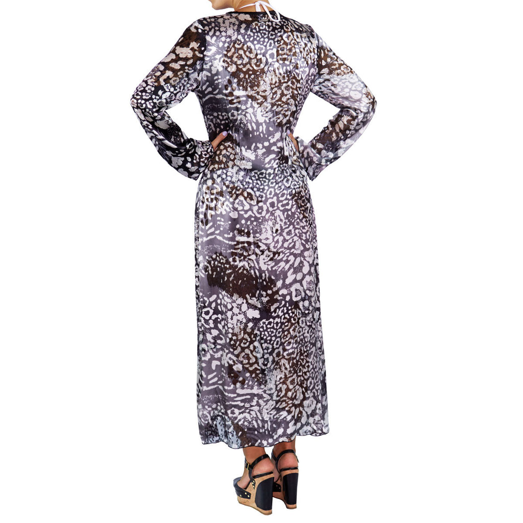 Long Kimono with Black & White Cheetah Print in Silk -  Thalassa Boom