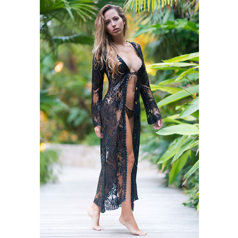 Long Kimono with Gold & Brown Chains Print in Silk