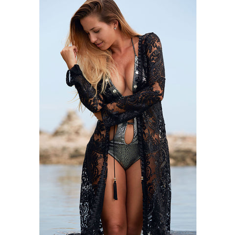 Long Kimono with Black & White Cheetah Print in Silk