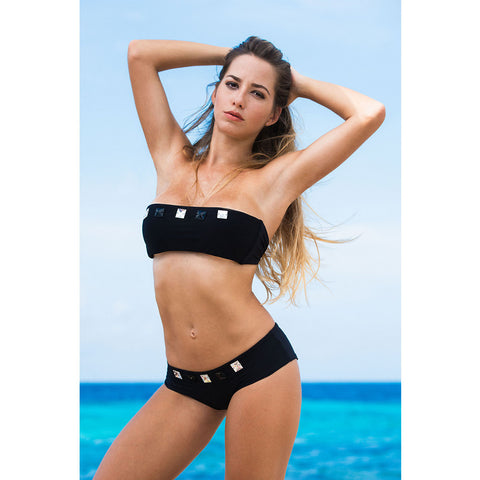 Black Halter Bikini Top with Swarovski Crystals