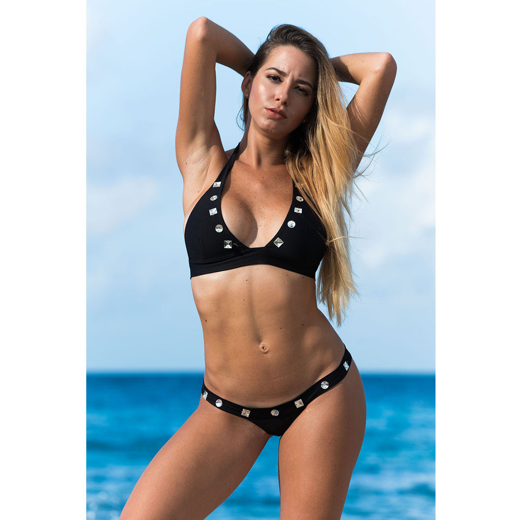 Thalassa Boom Resort Wear, Black Cheeky Bikini Bottom with Swarovski Crystals, Designer Swimwear
