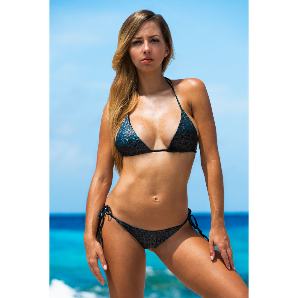 Thalassa Boom Resort Wear, Crack Black Ruched Back Tie Sides Bikini Bottom, Designer Swimwear