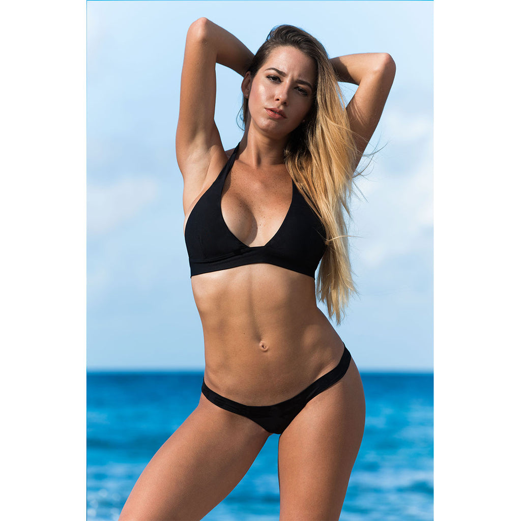 Thalassa Boom Resort Wear, Black Solid Halter Bikini Top -  Thalassa Boom - 1Thalassa Boom Resort Wear, Black Solid Halter Bikini Top, Designer swimwear