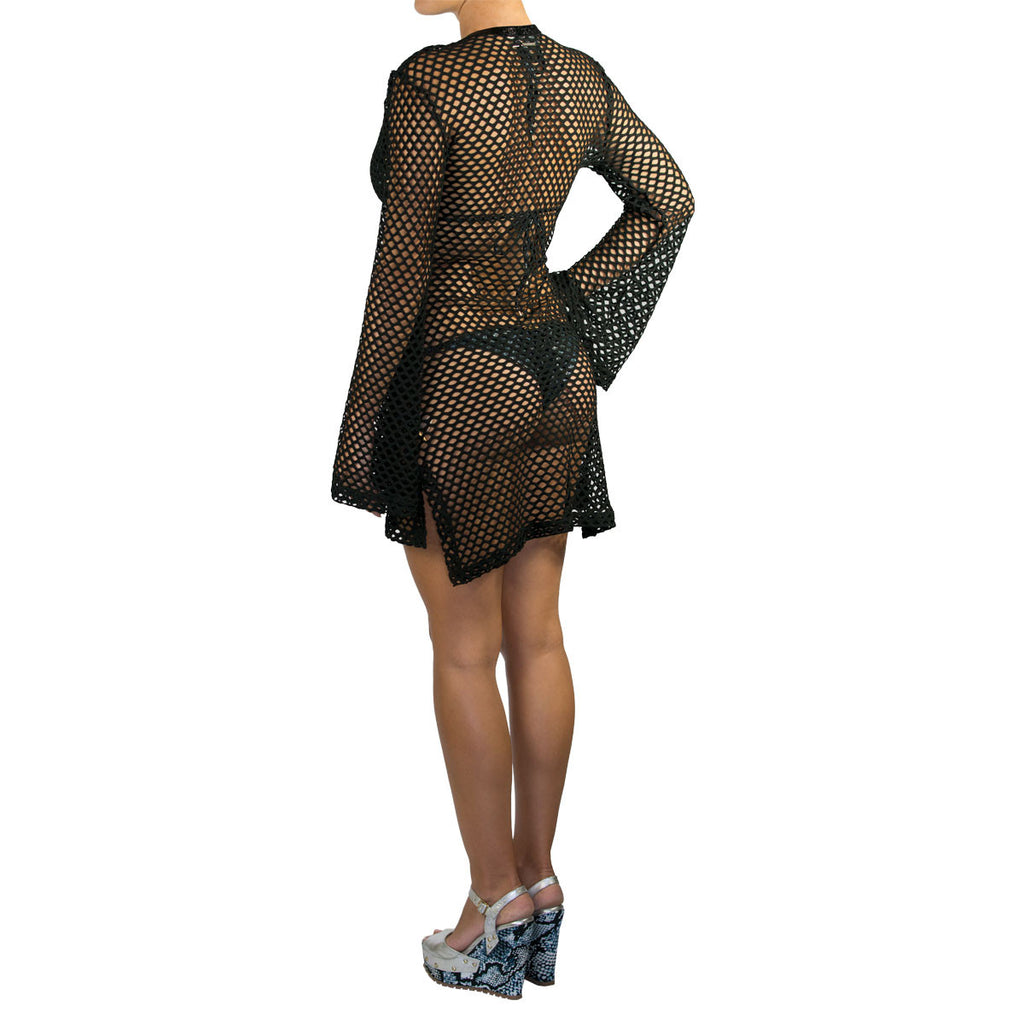 Cover Ups, Fitted Tunic with Bell Sleeves in Black Net, Thalassa Boom Resort Wear