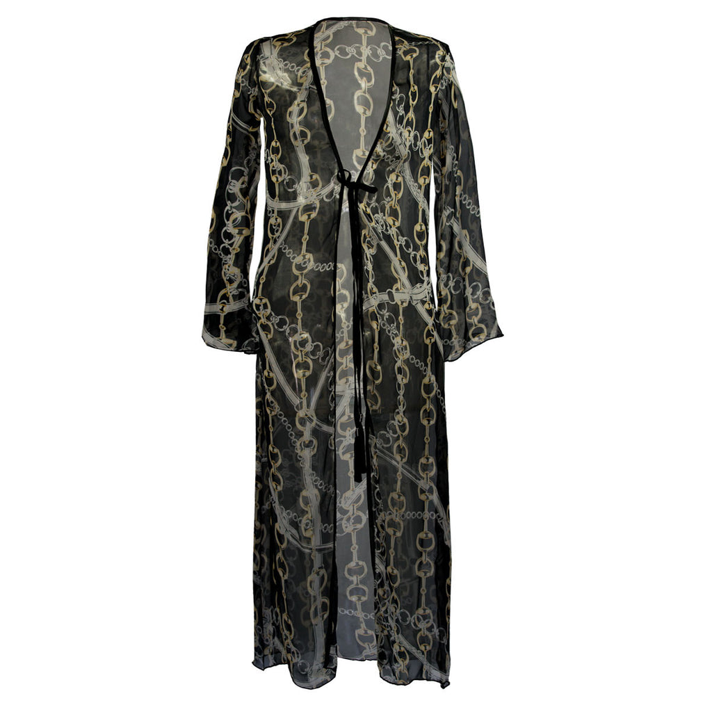 Cover Ups, Long Kimono with Gold Chains on Black in Organza, Thalassa Boom Resort Wear