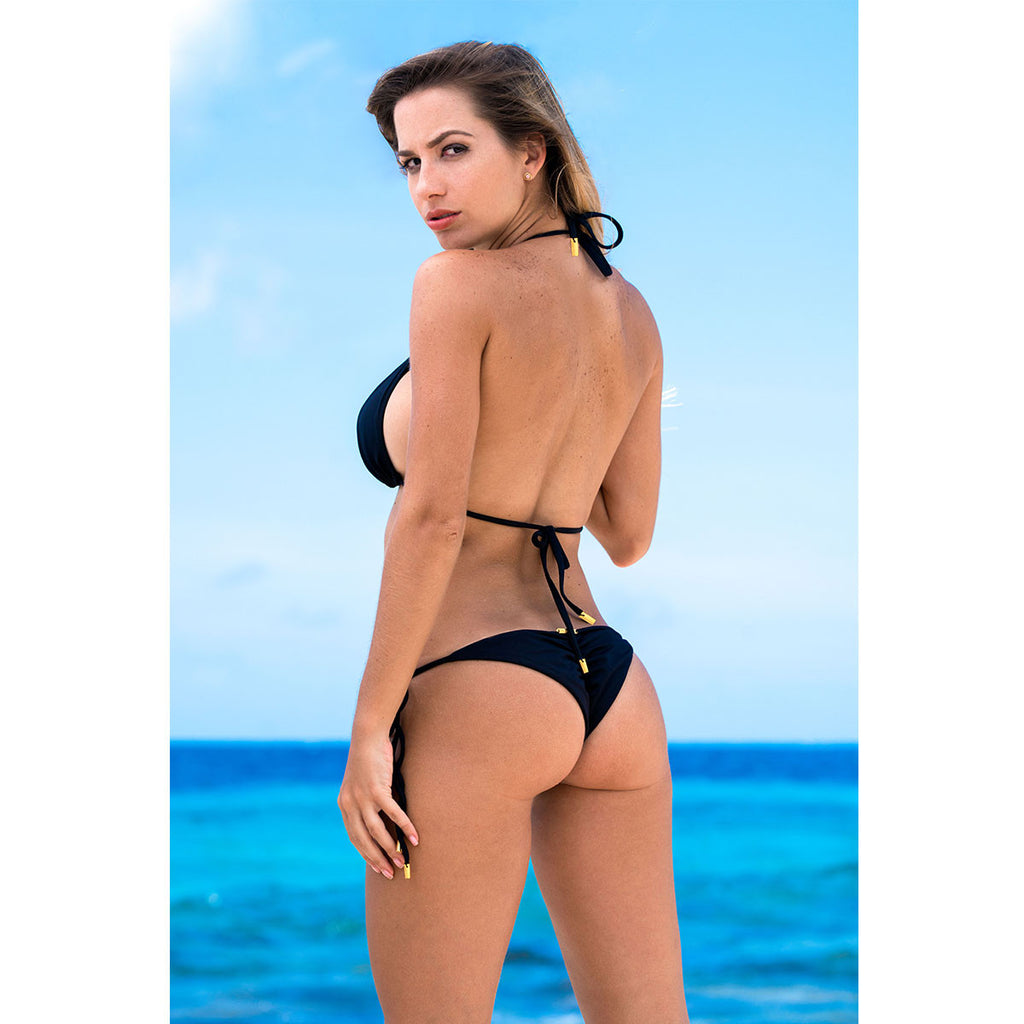 Thalassa Boom Resort Wear, Black Solid Ruched Back Tie Sides Bikini Bottom, Designer swimwear