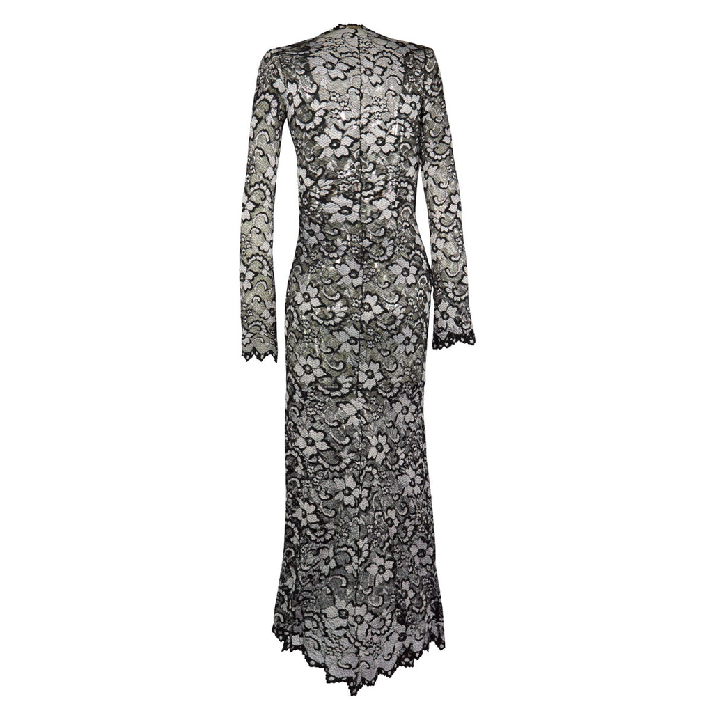 Fitted Gown Silver & Black Lace -  Thalassa Boom