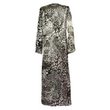 Cover Ups, Long Kimono with Black & White Cheetah Print in Silk, Thalassa Boom Resort Wear