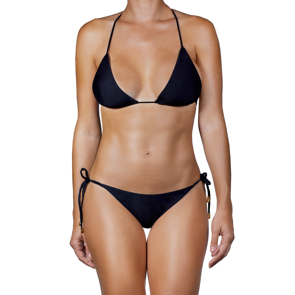 Swimwear - Black Solid Triangle Bikini Top -  Thalassa Boom - 7
