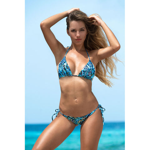 Animal Blue Triangle Bikini Top