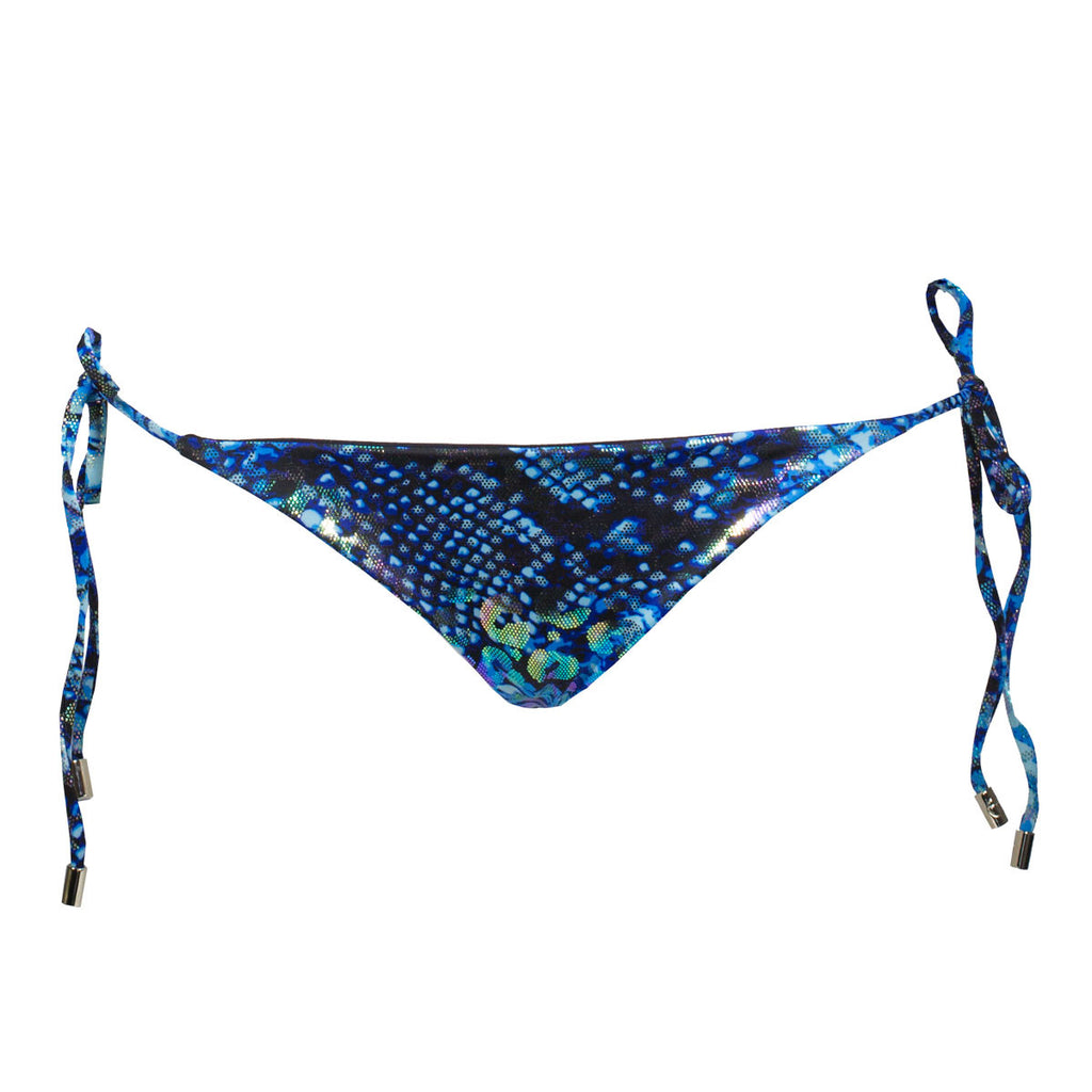 Thalassa Boom Resort Wear, Animal Blue Ruched Back Tie Sides Bikini Bottom, Designer swimwear