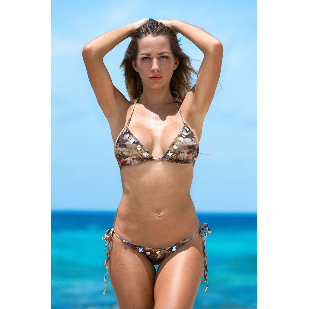 Swimwear - Camouflage Gold Ruched Back Tie Sides Bikini Bottom with Swarovski Crystals -  Thalassa Boom - 2