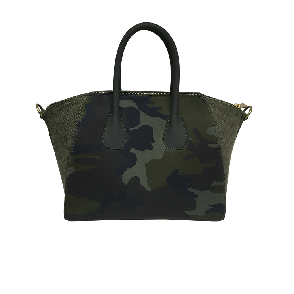 Handbags, Bag with Fringes & Studs in Camouflage, Thalassa Boom Resort Wear, Designer Resort Wear