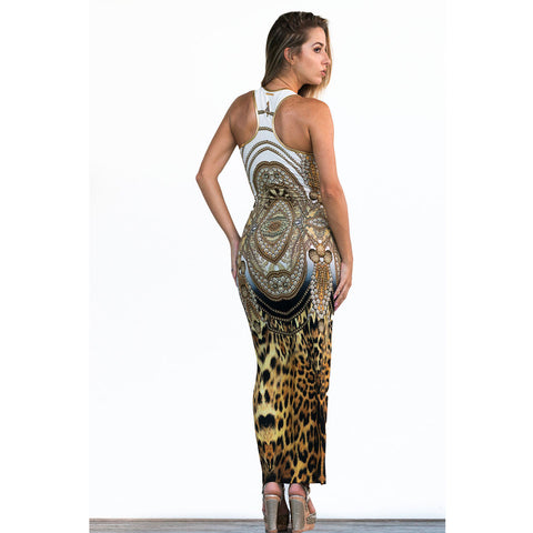 Fitted Razor Back Dress in Cheetah Chains Print -  Thalassa Boom