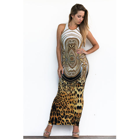 Fitted Razor Back Dress in Cheetah Chains Print