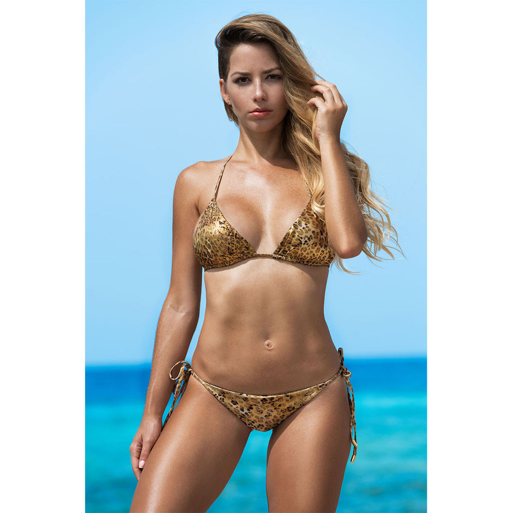 Thalassa Boom Resort Wear, Cheetah Gold Ruched Back Tie Sides Bikini Bottom, Design swimwear
