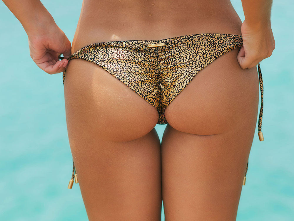 Thalassa Boom Resort Wear, Crack Gold Ruched Back Tie Sides Bikini Bottom, Designer Swimwear