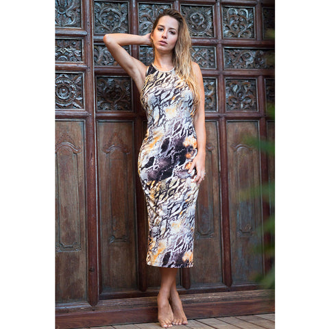 Fitted Razor Back Dress in Snake Print