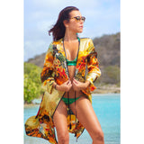 Cover Ups - Long Kimono with Flower Zebra Print in Silk -  Thalassa Boom for Thalassa Boom Resort Wear