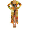 Cover Ups - Long Kimono with Flower Zebra Print in Silk -  Thalassa Boom Resort Wear