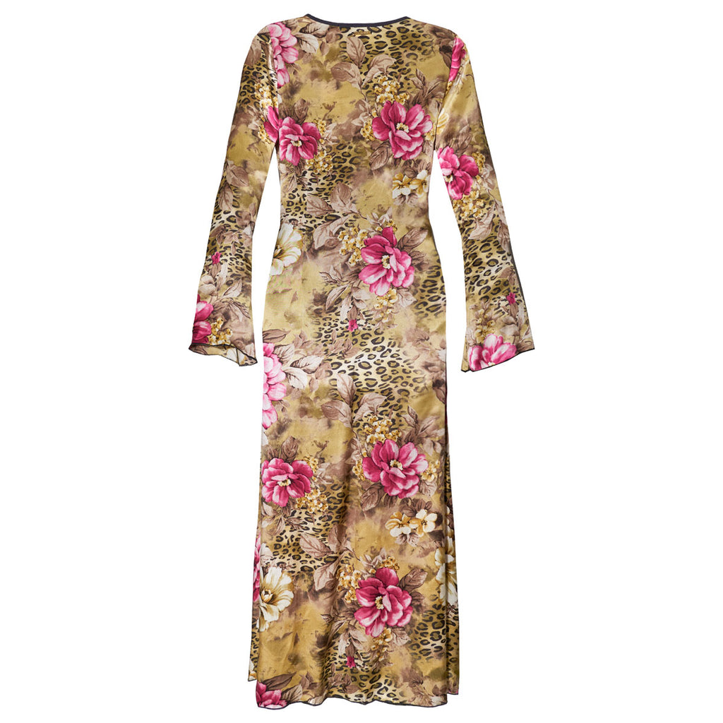 Cover Ups, Long Kimono with Flowery Cheetah Print in Silk, Thalassa Boom Resort Wear