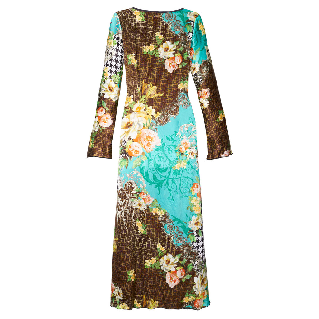 Long Kimono with Blue Haven Print in Silk -  Thalassa Boom