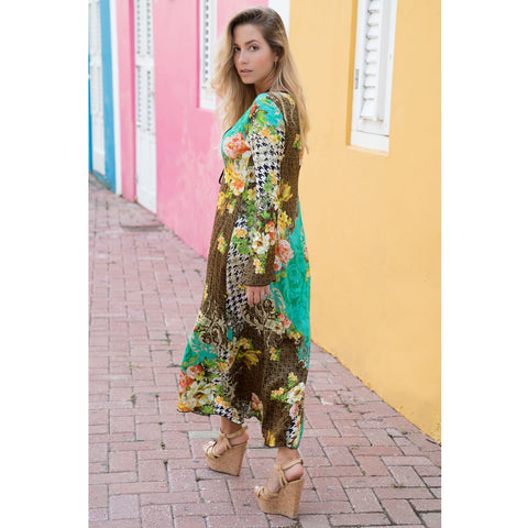 over Ups, Long Kimono with Flowery Pied-de-Poule Print in Silk, Thalassa Boom Resort Wear