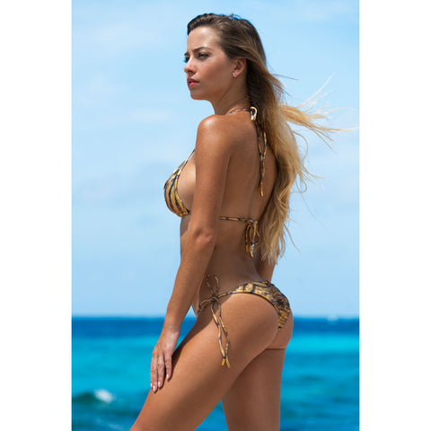 Thalassa Boom Resort Wear, Tiger Gold Triangle Bikini Top with Swarovski Crystals, Designer swimwear